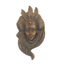 Relief Brass Statue Feather Mask Relievo Bronze Sculpture Tpy-886