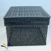 Artículos para el hogar cesta de almacenamiento de hierro con tapa para el hogar