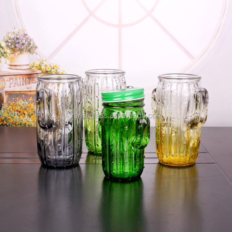 Fancy recycled glass 430ml 650ml cactus shaped beverage glass cup with screw metal lid