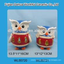 Handgemachte keramische Eulendekoration mit LED-Licht / Teelicht für Weihnachtsdekoration