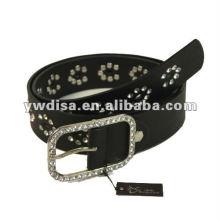 Correa de la PU de las mujeres con la PU negra, rhinestones claros, accessoris de la aleación con rodio plateado