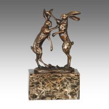 Tier Statue Kaninchen Dekoration Bronze Skulptur Tpal-323