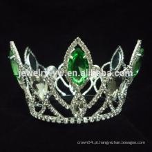 O pavão coroa tiaras, coroa de cristal verde da representação do rhinestone venda