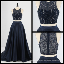 2017 New 2 Piece Beaded Evening Dress Satin Sequins Evening Party Gown