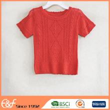 Patrón de suéter de croché de verano cuello redondo rojo libre para mujeres