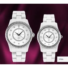 Relógio de quartzo de cerâmica completa com aço inoxidável Top-Ring & 2layer Dial
