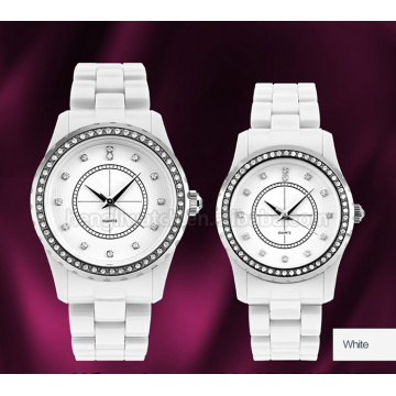Full Ceramic Quartz Watch with Stainless Steel Top-Ring & 2layer Dial