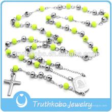 Colar de Cristal Religioso Rosário Colar Pingente de Cruz Verde Rosário Beads Longa Cadeia Para As Mulheres Dos Homens