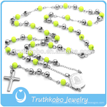 Cristo Collar Religioso Rosario Collar Cruz Colgante Verde Rosario Granos Cadena Larga Para Mujeres Hombres