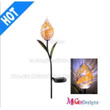 Estaca de luces solares de metal y cristal de alta calidad