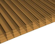 Feuille Multiwall de mur de polycarbonate 4 de bronze (OEM disponible)