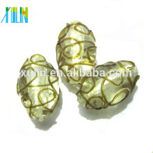 Italy clear silver foil beads lampwork directly hole glass beads
