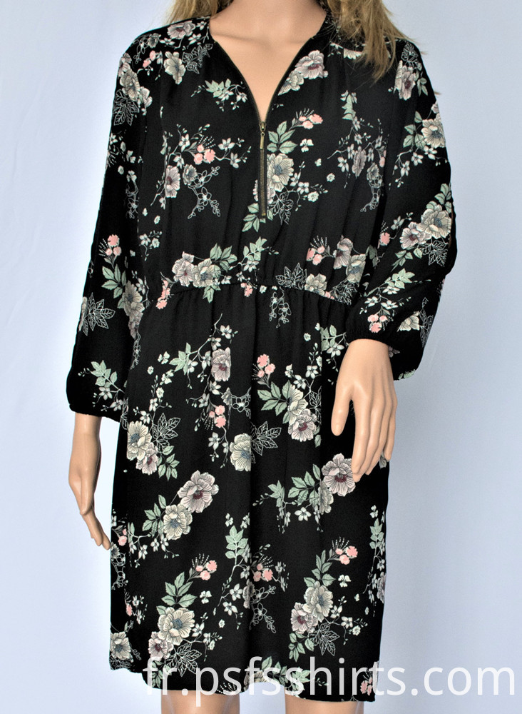 Printed Long Sleeve Dress