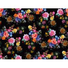 Черные цветы напечатано нейлона купальники ткани (ASQ093)
