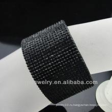 Оптовый черный кристаллический кожаный браслет с нержавеющей сталью магнитной пряжки