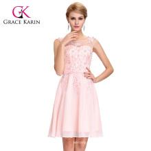 Grace Karin Sleeveless Crew Neck Pale Pink Chiffon Short Bridesmaid Dress GK000063-3