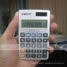 Calculatrice de poche à douille puissance à 12 chiffres avec couvercle en métal dur (CA3061)