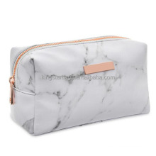 Personalized Logo Metal Plate Rose Gold Zippered Marble Bag