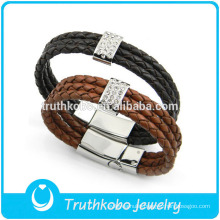Mens Triple Wrap Braided Leather Bracelet Stainless Steel Magnetic Clasp Leather Bangle Latest Design Bangle for Men