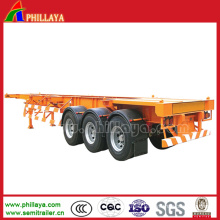Tri Axles Skeletal Container Semi-Trailer with Plate Floor