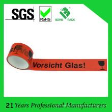 BOPP Klebeband Logo Embalagem de Fita com Vorsicht Glas 50m
