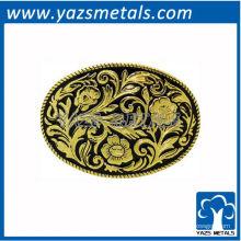 personalizar fivelas de cinto, ouro oval ocidental feito sob medida e fivela de cinto de cor preta