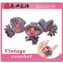 anéis de crochê de pedras preciosas naturais