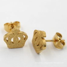 Stainless Steel Jewelry Crown Stud Gold Earrings for Girls