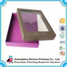 Caixas de vestuário de luxo de exibição de papelão com janela de pvc
