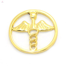 Hot selling 18k gold alloy floating charms cheap locket window angel wing plates jewelry