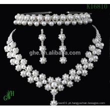 Três peças Yiwu casamento pérola strass colar