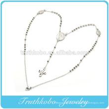 Carting Jesus Cross pendentif Vierge Marie christian 3mm chapelet perles collier en acier inoxydable chapelet vente directe d'usine