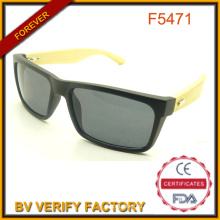 Hot Sell Natural Bamboo Temple Sunglasses with Custom Designer F5471