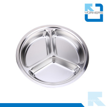 Stainless Steel Round Shape Food Tray /School Deep Dinner Plates