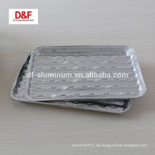 Einweg-rechteckige Aluminiumfolie Grillschale für bbq