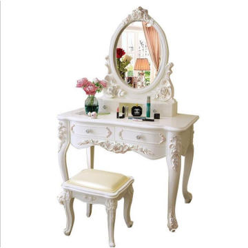 Caoxian French country wooden white dressing table with mirror