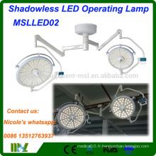 Equipement médical Shadowless LED lumière de fonctionnement MSLLED02i hôpital chirurgie chirurgie opération lumière de théâtre avec 128 ampoules LED