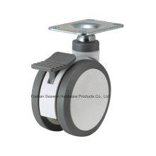 Plaque supérieure de roulette médicale avec roulette de PU de frein
