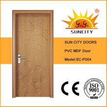 Puerta única de madera tallada barata