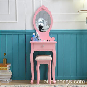 Luxury design one drawer simple mirrored dressing table with stool