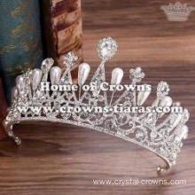 Fashion Crystal Wedding Tiaras With Pearls