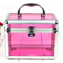 Les cas cosmétiques acryliques de style de base rose (hx-q053)