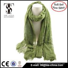 Nuevo llegan la bufanda mágica de la sensación suave del color verde del diseño con la flora que se congrega para las mujeres Quality Choice