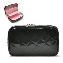 Bolsa de beleza cosmética para joias com bolsa de PVC preta moda feminina (YKY7515)