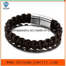Hot-Selling Metal Buckles Woven Leather Rope Bracelet (BL2848)