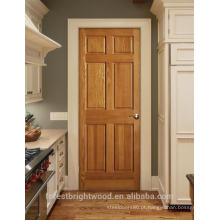 Portas interiores de madeira de nogueira pré-acabadas design de painel 6