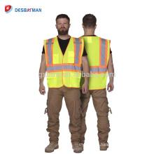 Желтые мужские наружные работы носит жилет для железнодорожников высокая безопасность видимость с двухцветной Светоотражающая полоса карман с ANSI/маки