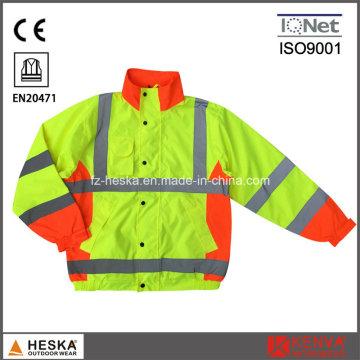 Jaqueta de Tactel fluorescente de segurança Mens