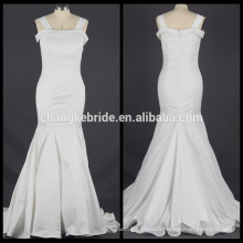 Real Pictures Satin Mermaid Wedding Dress Long White Bridal Dress With Back Zipper