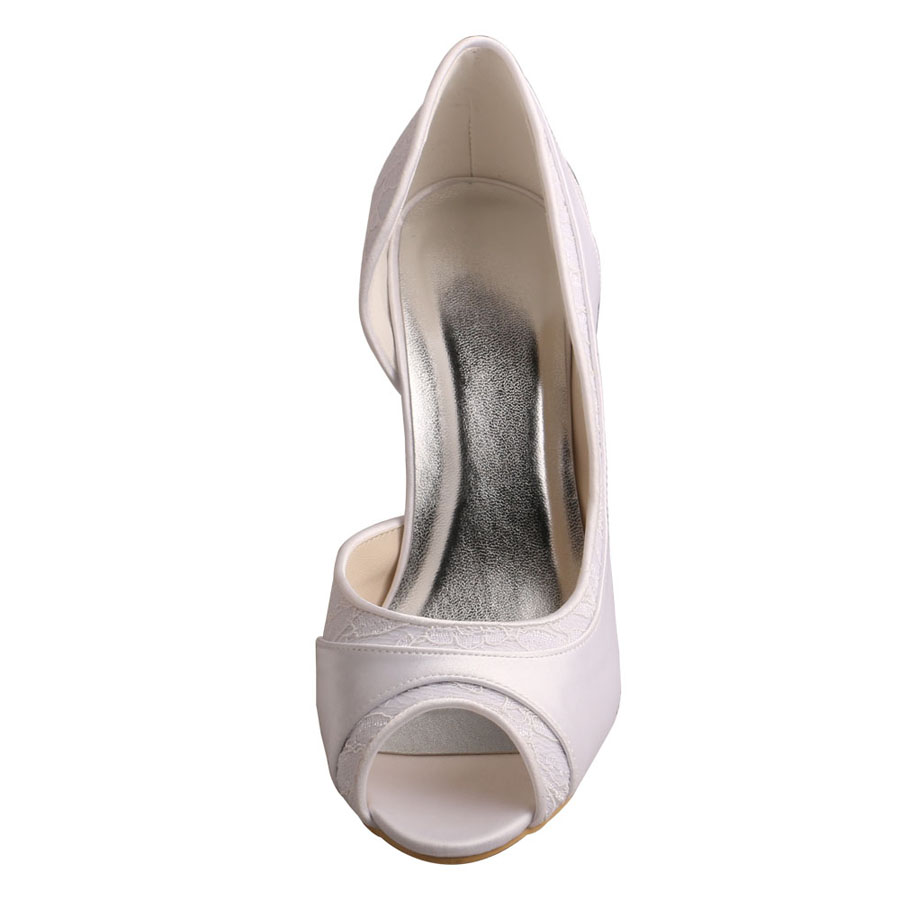 White Peep Toe Shoes For Wedding